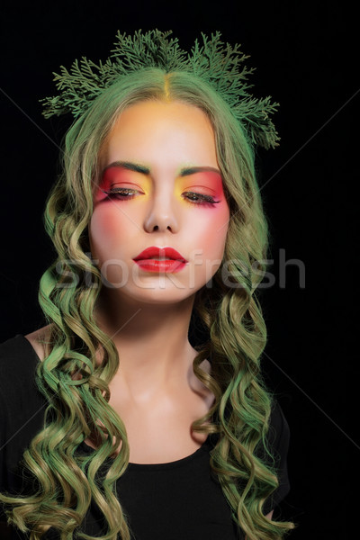 Stylish Woman with Dyed Hairs and Extravagant Makeup Stock photo © gromovataya