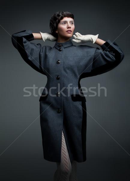 Divattervezés szuper modell barna hajú retró stílus divatos Stock fotó © gromovataya