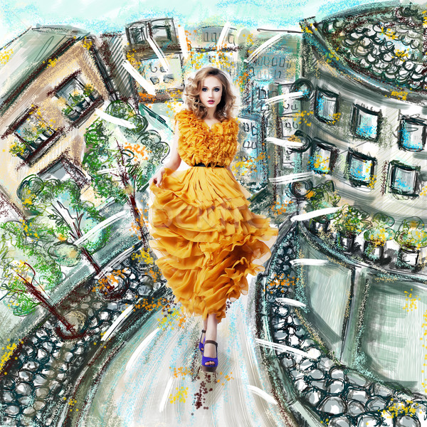 Fantázia futurisztikus modern nő divat ruha Stock fotó © gromovataya