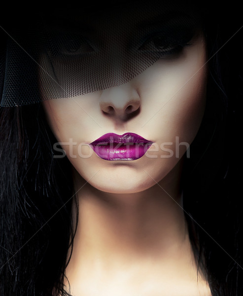Stylish Aristocratic Woman with Dark Veil Stock photo © gromovataya