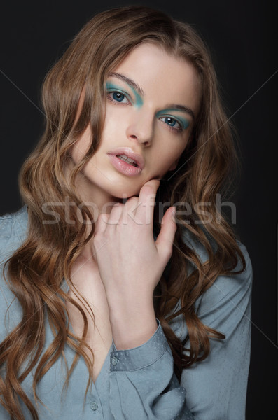фантазий молодые брюнетка необычный синий Сток-фото © gromovataya