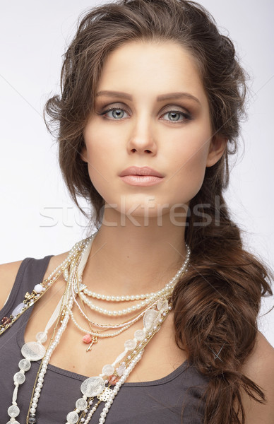 Sophisticated Woman with Ornamentation - Pearly Necklace Stock photo © gromovataya