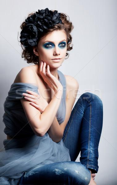 Creative woman face - bright colorfrul make up Stock photo © gromovataya