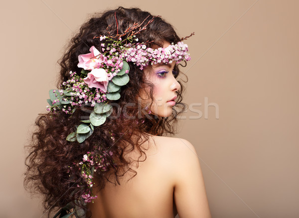 Profile of Woman with Colorful Wreath of Flowers. Valentine's Day Stock photo © gromovataya
