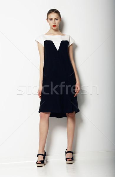 Full Portrait of Elegant Refined Female in Urban Black - White  Dress. Fashion Stock photo © gromovataya