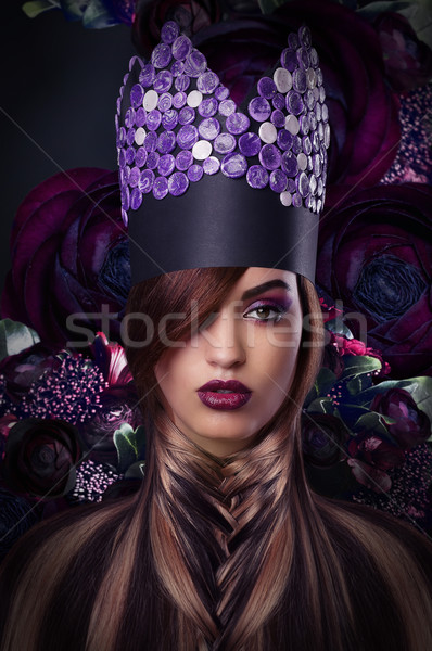 Imagination. Extravagance. Styled Woman in Fantastic Headwear Stock photo © gromovataya