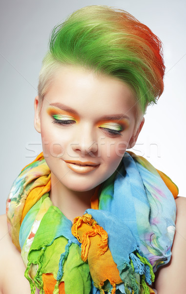 Woman with Vivid Multicolored Bob Haircut and Bright Makeup Stock photo © gromovataya