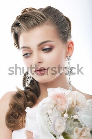 Młodych brunetka perfum butelki zapach wody Zdjęcia stock © gromovataya