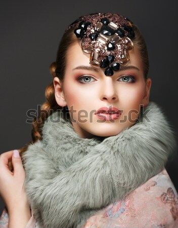 Fantasy. Russian Woman fashion Model with Brilliant Crown Stock photo © gromovataya