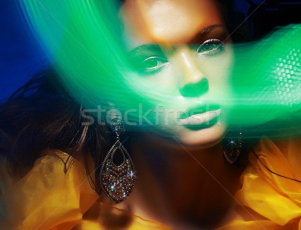 Diffuse. Fantasy. Silhouette of Woman's Face in Magic Disco Fog Stock photo © gromovataya