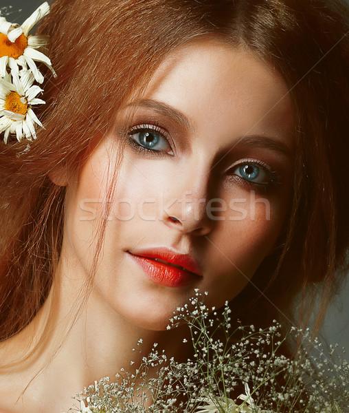 Freshness. Portrait of Romantic Redhead Woman with Chamomile Stock photo © gromovataya