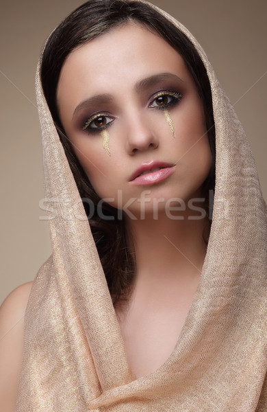 Woman in Shawl with Dramatic Stagy Makeup Stock photo © gromovataya
