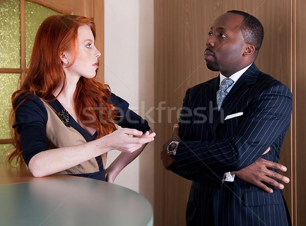 Equipo de negocios rojo cabeza pecoso bastante dama Foto stock © gromovataya