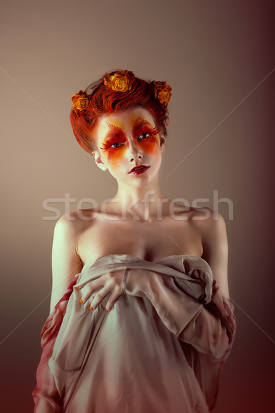 Portrait of Unusual Redhead Woman with False Red Eyelashes. Fantasy Stock photo © gromovataya