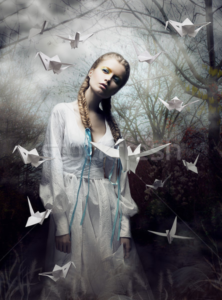 Mystery. Origami. Woman with White Paper Pigeon. Fairy Tale. Fantasy Stock photo © gromovataya