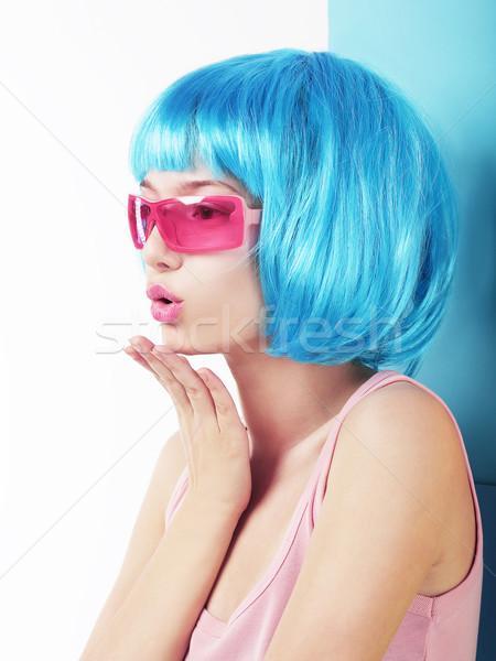 Manga stijl profiel charismatische vrouw Blauw Stockfoto © gromovataya