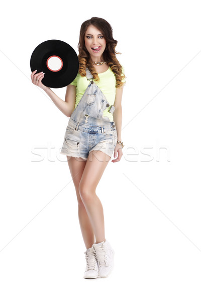 Happy Funny Woman with Vinyl Record Licking her Lips Stock photo © gromovataya