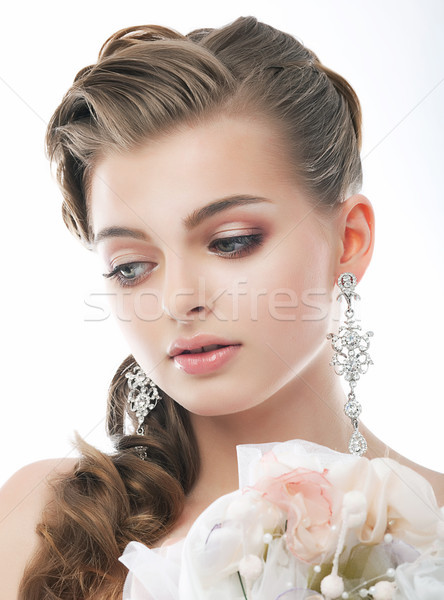 Love. Romantic Sophisticated Woman with Bouquet of Flowers. Freshness & Tenderness Stock photo © gromovataya