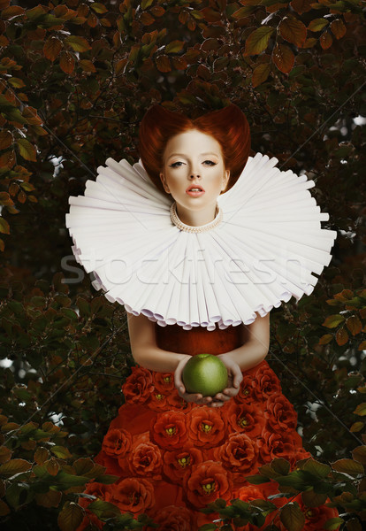 Vintage. Stylized Red Hair Woman in Retro Jabot with Green Apple Stock photo © gromovataya