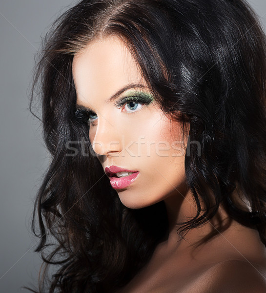 Fascination. Sophistication. Profile of Luxurious Lovely Brunette Stock photo © gromovataya