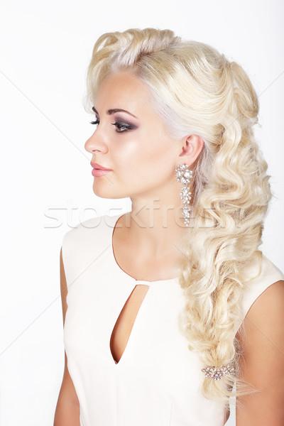 Portrait of Ash-Colored Braided Stylish Woman Stock photo © gromovataya