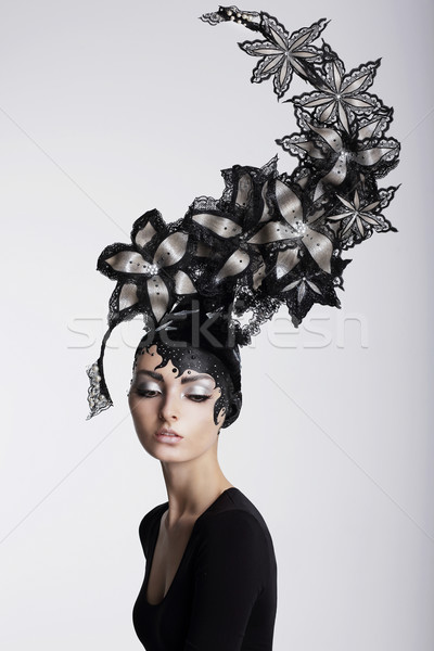 Fantasy. Surrealism. Amazing Woman in Trendy Headwear with Flowers Stock photo © gromovataya