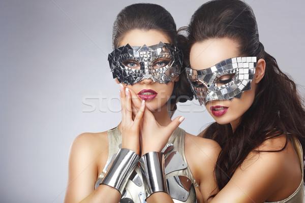 Masquerade. Artistic Women in Fancy Bright Glasses Stock photo © gromovataya