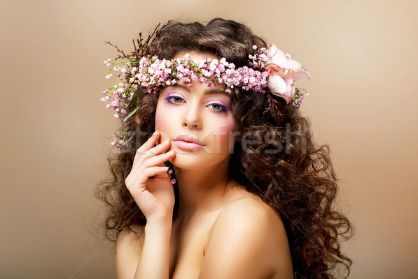 Complexion. Classy Young Woman with Curly Hairdo - Blush Face Stock photo © gromovataya