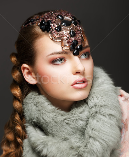 Braided Hair Luxurious Woman in Fur Collar and Gemstones. Jewels Stock photo © gromovataya
