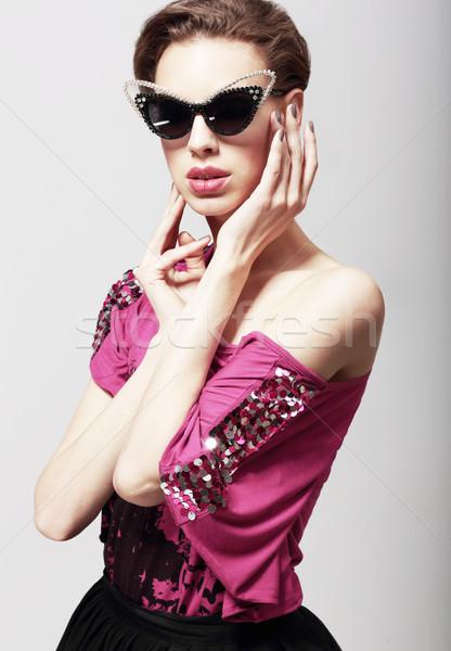 High fashion zarif kadın karanlık güneş gözlüğü Stok fotoğraf © gromovataya