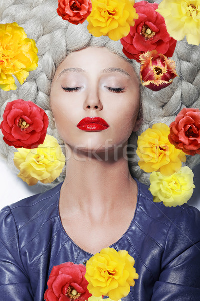 Fantasy. Portrait of Sleeping Woman with Closed Eyes and Colorful Flowers Stock photo © gromovataya