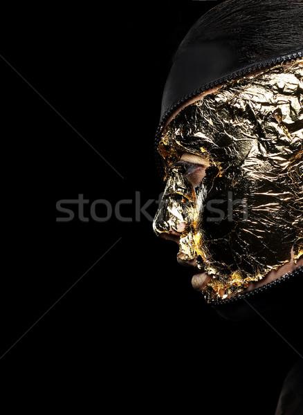 Twarz pokryty złoty czarny tajemnicy tle Zdjęcia stock © gromovataya