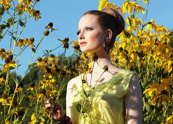 夏場 小さな 女性 草原 黄色の花 ストックフォト © gromovataya