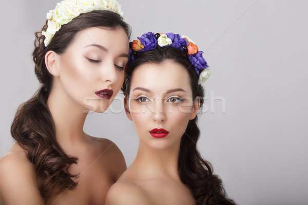 Sentiment. Glamor. Gorgeous Women in Wreaths of Flowers Stock photo © gromovataya