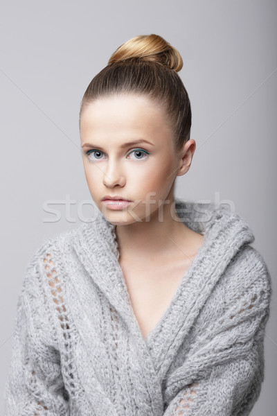 Studio Portrait of Young Female in Gray Woolen Cardigan Stock photo © gromovataya