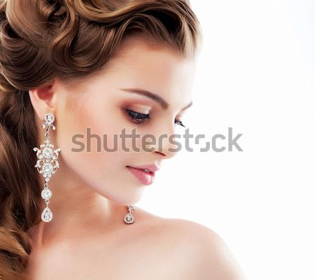 Pure Beauty. Aristocratic Profile of smiling Lady with Glossy Diamond Earrings. Femininity & Sophist Stock photo © gromovataya