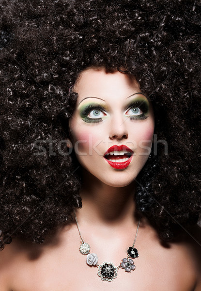 Creativity. Theatrical Emotions. Woman with Fantastic Coiffure looks like Doll Stock photo © gromovataya