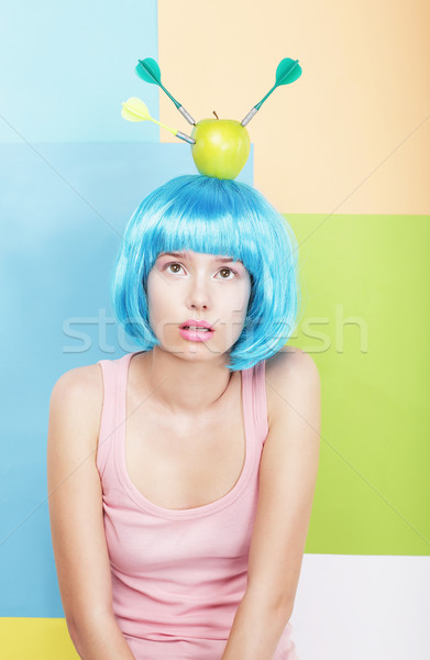 Stylized Woman with Apple on her Blue Haired Head. Series of Photos Stock photo © gromovataya