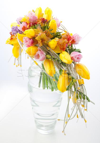 Colorful flowers bouquet arrangement centerpiece in vase Stock photo © gromovataya