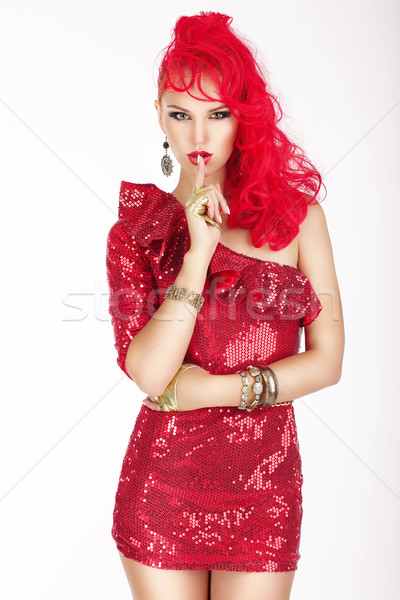 Secret. Posh Woman with Red Hair and Dress showing Silence Sign. Shush! Stock photo © gromovataya