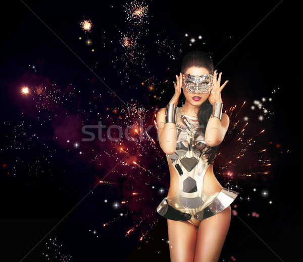 Firework. Woman over Festive Backrgound in Theatrical Costume Stock photo © gromovataya