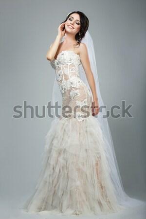 Aspettativa bella sposa bianco abito da sposa fiore Foto d'archivio © gromovataya