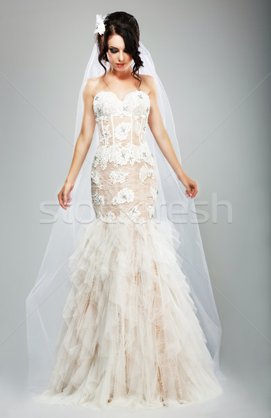 Wedding Style. Elegant Bride in White Long Bridal Dress Stock photo © gromovataya