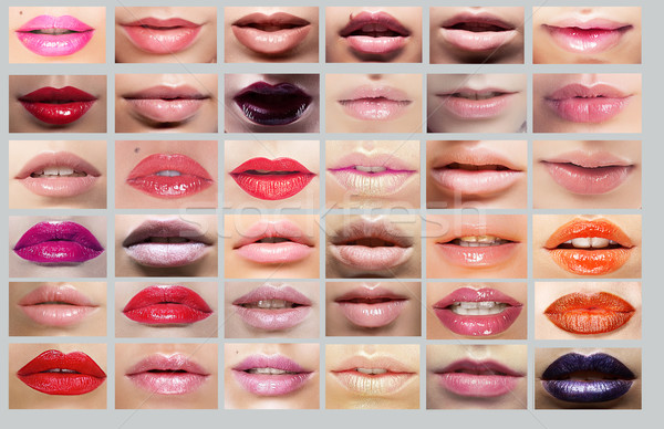 Lipstick. Great Variety of Women's Lips. Set of Colorful Mouths Stock photo © gromovataya
