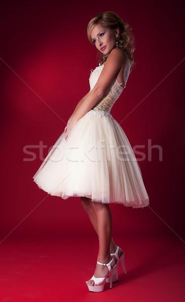 Divat modell szőke nő esküvői ruha stúdiófelvétel divatos Stock fotó © gromovataya