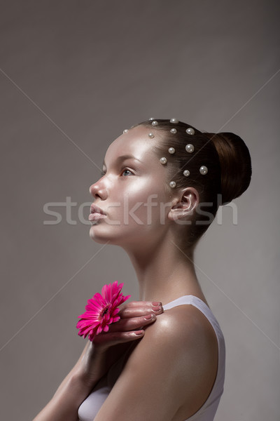 Bronze Body Art. Profile of Brown Tanned Woman's Face. Creative Futuristic Portrait Stock photo © gromovataya