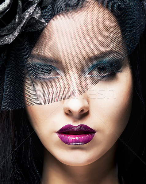Romance. Portrait of Spectacular Styled Woman in Retro Black Veil Stock photo © gromovataya