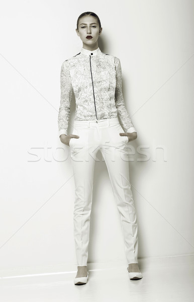 Trend. New Summer Apparel Collection. Woman wearing White Clothing. Series of Photos Stock photo © gromovataya