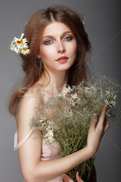 Sentiment. Portrait of Redhair Nostalgic Woman with Herbs Stock photo © gromovataya