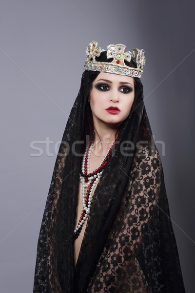 Enchantress.Wizard in Ancient Mantle and Crown Stock photo © gromovataya